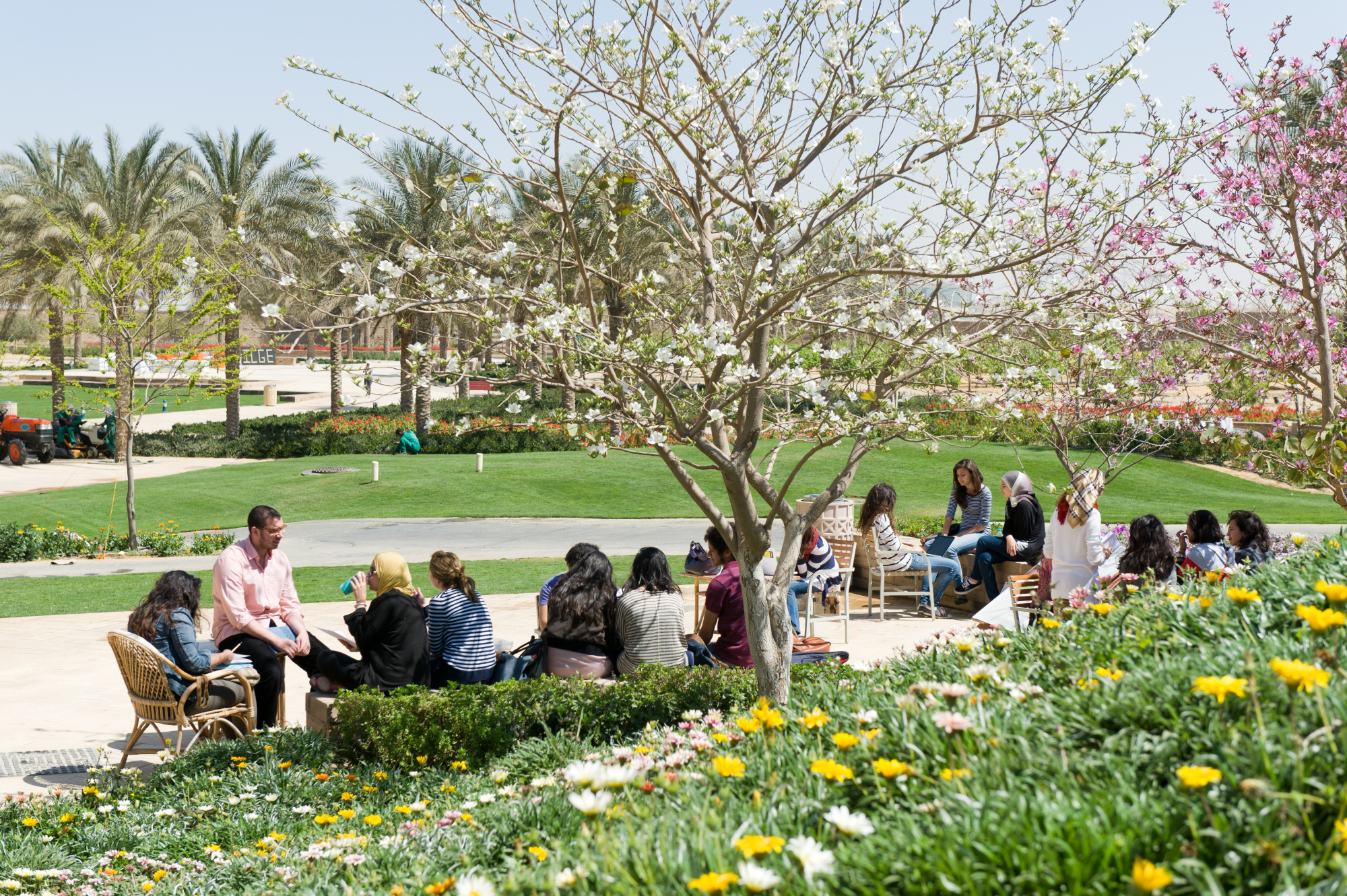 students in library garden